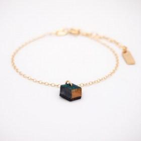 Bracelet fin en calebasse séchée et chaîne plaquée or 24k | Hexagone Cube - Noir -Canard-Moutarde