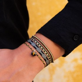 Bracelets fins réglables en calebasse séchée Toty | Hexagone Noir