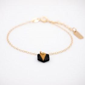 Bracelet fin en calebasse séchée et chaine plaqué or 24k | Hexagone Noir - Moutarde