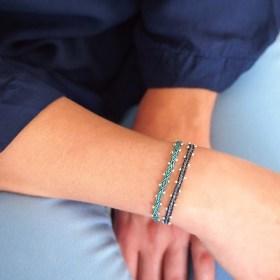 Bracelets 40 fils et argent 925 Pibi 2 faits main fins |Mar : Bleus - Turquoises - Verts