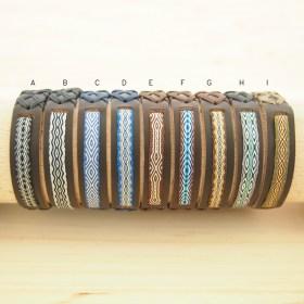 Bracelets Telar 80 fils PAVA CUIR marron faits main