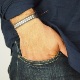 Bracelets homme cuir 80 fils faits main | Pava REV Cuir : Marron et Noir