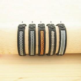 Bracelets Telar 40 fils PAVA CUIR noir faits main