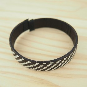 Bracelet fibre naturelle FUMAREL noir fait main 10A