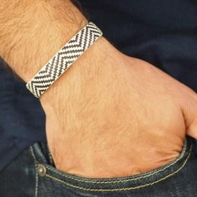 Bracelet fibre naturelle FUMAREL noir fait main 10H Blanc