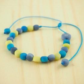 Bracelet en ivoire végétal MILANO bleu-citron fait main