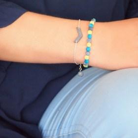 Bracelet en ivoire végétal Milano Bi fait main | Bleu - Citron