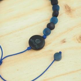 Bracelet ivoire végétal MILANO bleu-marine fait main éthique