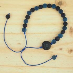 Bracelet en ivoire végétal Milano Bi fait main | Bleu marine - Bleu