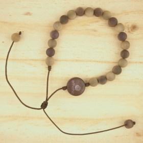 Bracelet ivoire végétal MILANO nougat-marron fait main éthique
