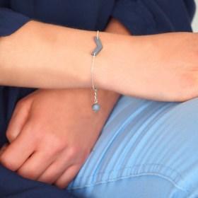 Bracelet en ivoire végétal Rubi Fle fait main | Bleu clair - Argent 925