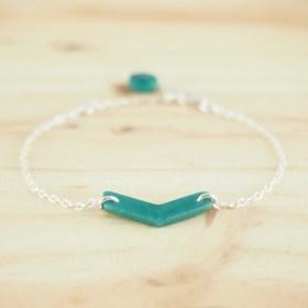 Bracelet en ivoire végétal Rubi Fle fait main | Turquoise - Argent 925