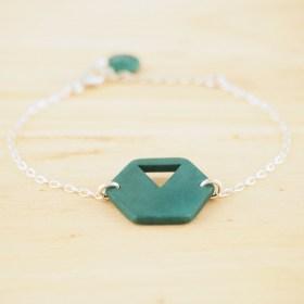 Bracelet en ivoire végétal Rubi Hex fait main | Turquoise- Argent 925