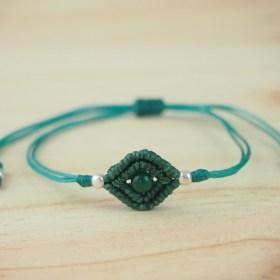 Bracelet macramé Rombo Agate vert fait main