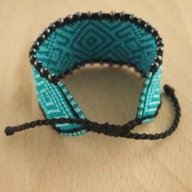 Bracelet macramé et perles COLIN 30 BLEU latino fait main