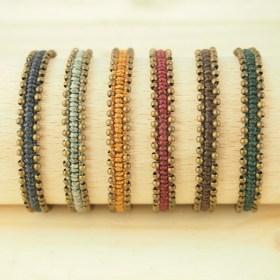 Bracelet mixte macramé perles en cuivre Inca C fait main