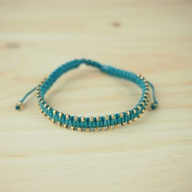 Bracelet macramé et perles palquées or Inca O fait main