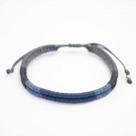Bracelet mixte Compas fait-main | Bleu - Noir - Gris