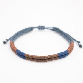 Bracelet mixte Compas fait-main | Marron - Bleu - Gris