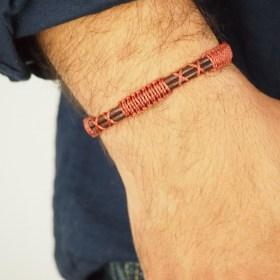 Bracelet mixte en macramé et cuir Martinete fait main