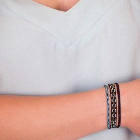 Bracelet fin Miyuki fait main - Triyu Intercalé NOIR-DORE-VERT