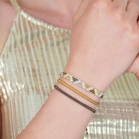 Bracelet fin Miyuki fait main éthique - Triyu zig-zag Marron - Cuivre - Doré - Blanc
