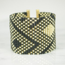 Bracelet perles Braka Gold Abstract fait main | Noir - Doré - Plaqué Or 24k