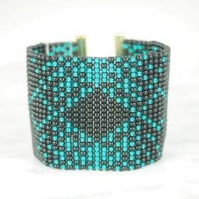 Bracelet perlesBraka Gold Adn fait main | Noir - Émeraude