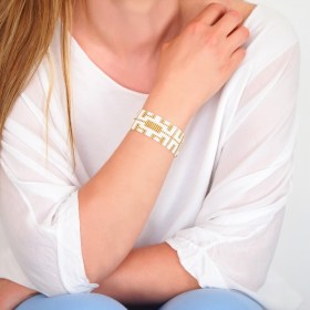 Bracelet perlesBramitaGold Labyrinthe fait main | Blanc - Doré