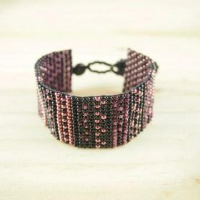 Bracelet perles Bramita Muisca fait main |Noir - Violet - Cuivre
