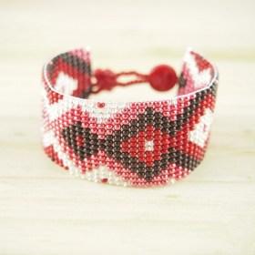 Bracelet perles Bramita Infini fait main |Rouge - Argent - Saumon