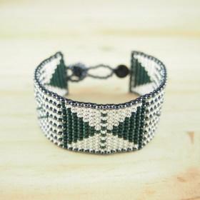 Bracelet perles Bramita Centro fait main | Vert - Argent - Gris