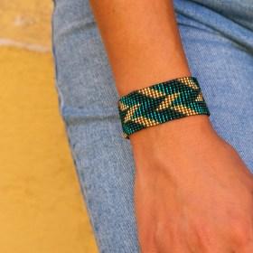 Bracelet perles Bramita Eclair fait main |Émeraude - Doré