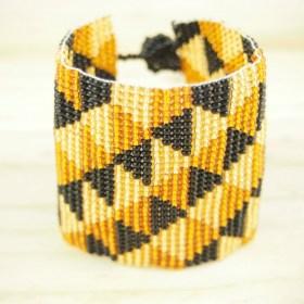 Bracelet perles OKAMA NOIR MIEL triangles ethique fait main