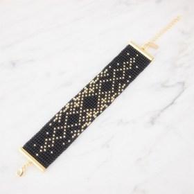 Bracelet perles OKAMITA GOLD Adn noir-doré fait main