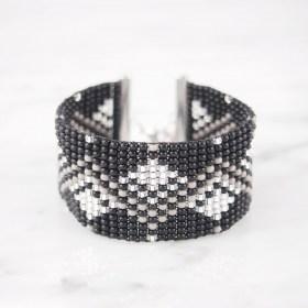 Bracelet perles OKAMITA SILVER Diamonds noir-gris-argent  fait main