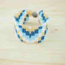 Bracelet perles OKAMITA Bleu et doré ethique fait main