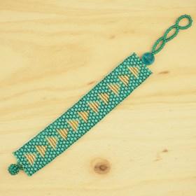 Bracelet perles Okamita turquoise-doré fait main éthique