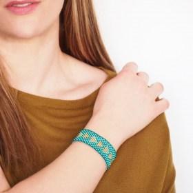 Bracelet perles OKAMITA GOLD Triangles  turquoise-doré fait main