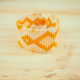 Bracelet perles OKAMITA orange ethique fait main