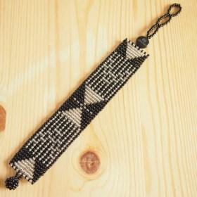 Bracelet perles Okamita noir et argenté  fait main éthique