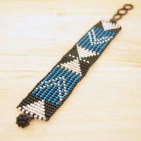 Bracelet perles OKAMITA Noir-bleu-argent ethique fait main