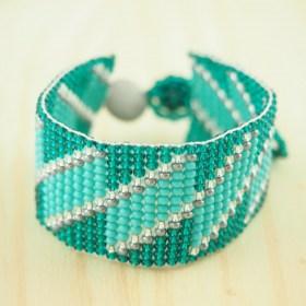 Bracelet perles OKAMITA Turquoise-gris fait main diagonal