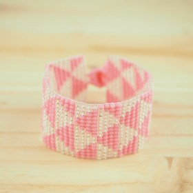 Bracelet okamita rose fait main triangles éthique