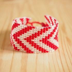 Bracelet perles Okamita rouge-transparent fait main éthique