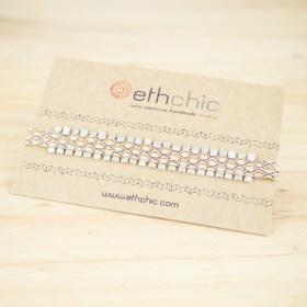 Bracelets 80 fils et argent 925 faits main fins | Piny REV : Noirs - Marrons - Corail