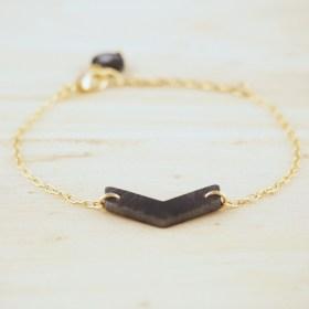 Bracelet en ivoire végétal plaqué or - Rubi Fle gris fait main