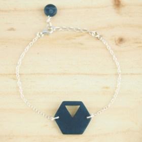 Bracelet en ivoire végétal Rubi Hex fait main | Bleu - Argent 925