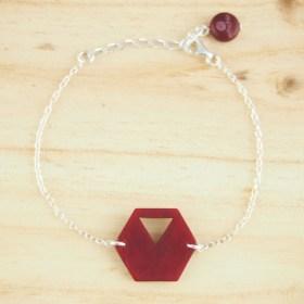 Bracelet en ivoire végétal Rubi Hex fait main | Rouge - Argent 925