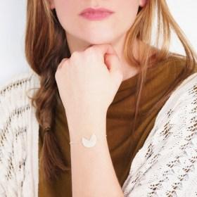 Bracelet en ivoire végétal et argent 925 - Rubi Pac blanc fait main